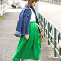 グリーンスカートコーデ15選♡新鮮&ヘルシーなグリーンでコーデをリフレッシュ!
