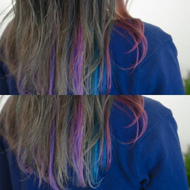 ゴールドやライトブラウンなどの明るめな髪色×インナーカラー7