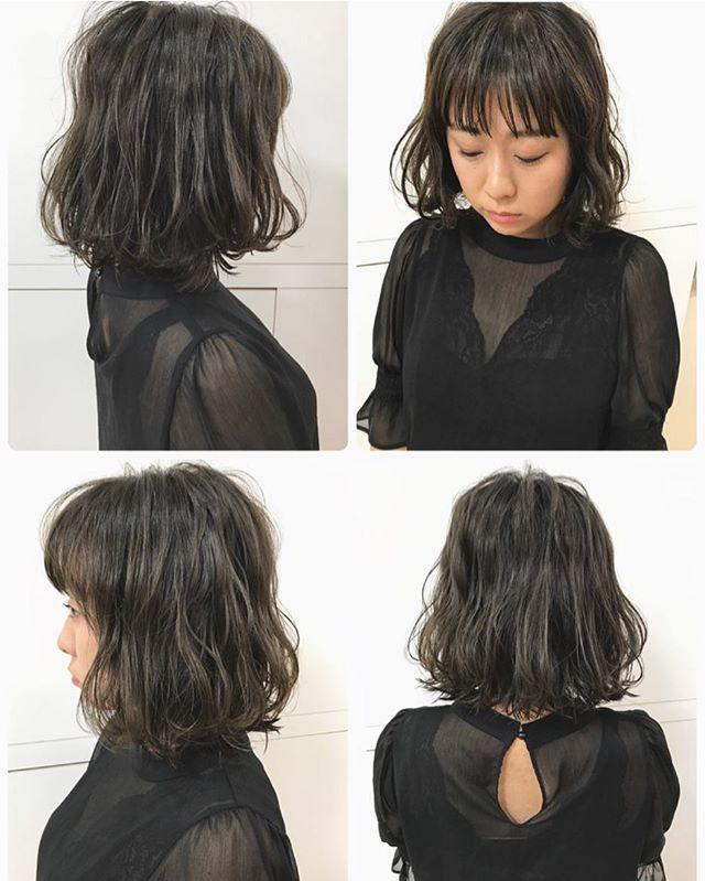 黒髪 ミディアムボブスタイル4