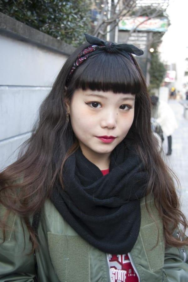 ぱっつん前髪のアレンジヘア7