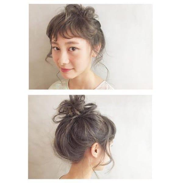 ぱっつん前髪のアレンジヘア11