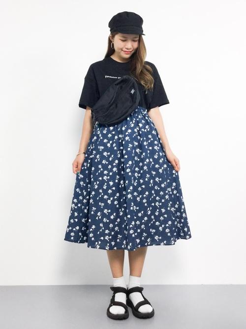 マリン フェスコーデ 柄スカート