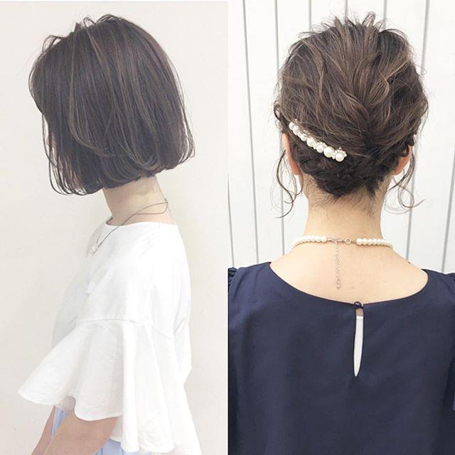 ショートヘア 編み込み アップ アレンジ4