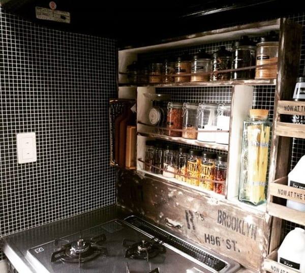 キッチン おしゃれ 棚収納5