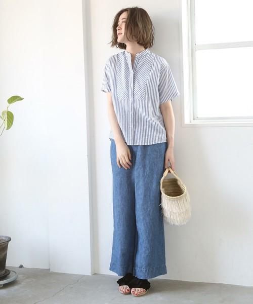 [coen] 綿麻ストライプバンドカラーシャツブラウス