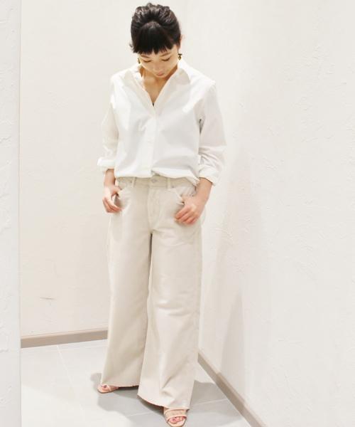 [Plage] 綿サテン ミディシャツ◆