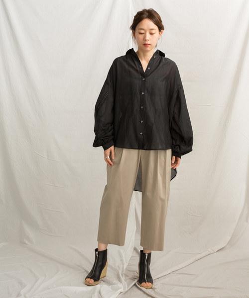 [LANDWARDS] コットン×シルク ロングシャツ〈ボリューム袖〉