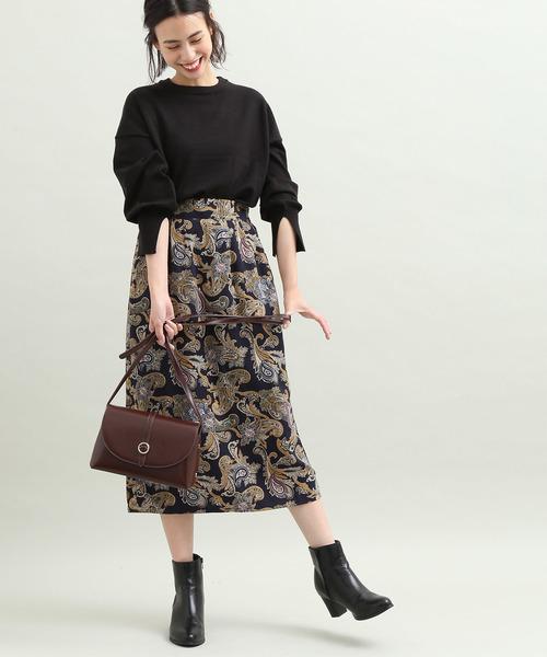 [ViS] 【WEB限定】ペイズリーストレートスカート