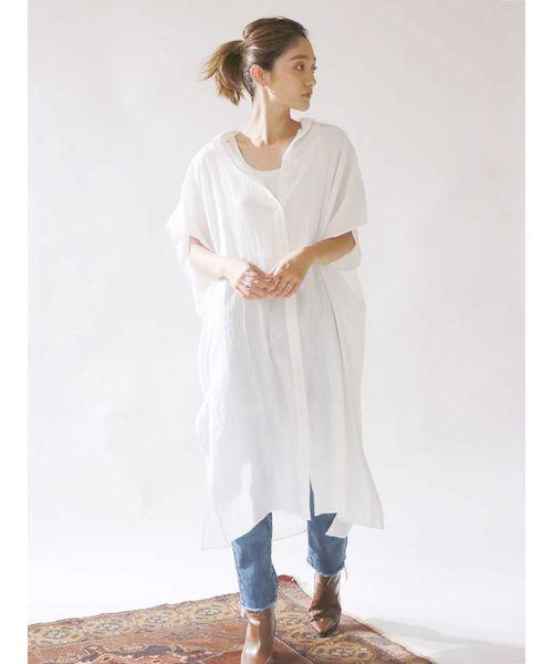 [Ungrid] ガーゼサイドスリットロングシャツ