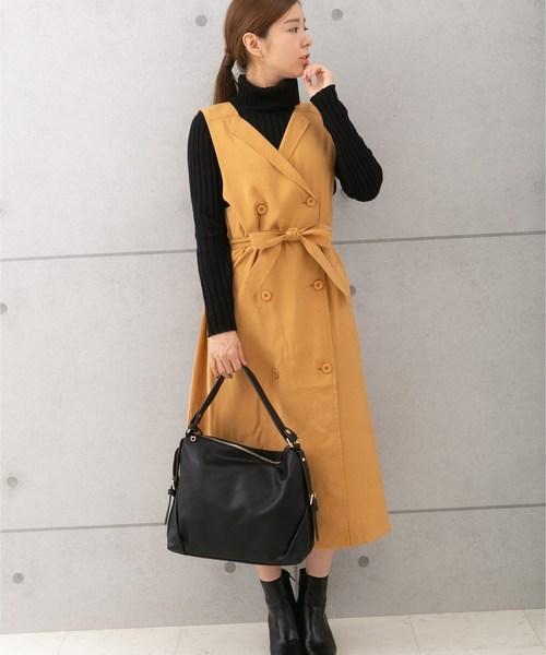 [PREFERIR] トレンチ風ジャンパースカート