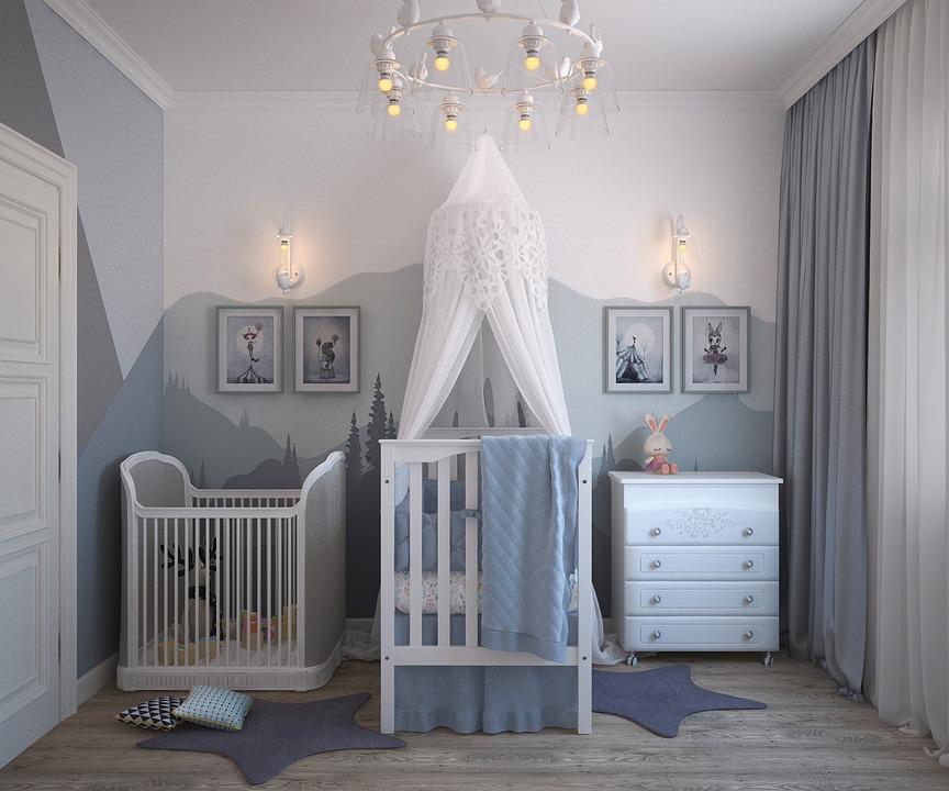 赤ちゃんのお部屋 グレーインテリア