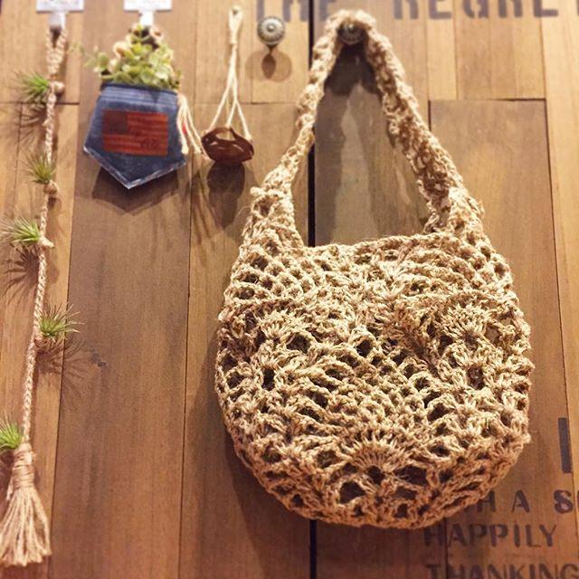 模様編みのバッグ