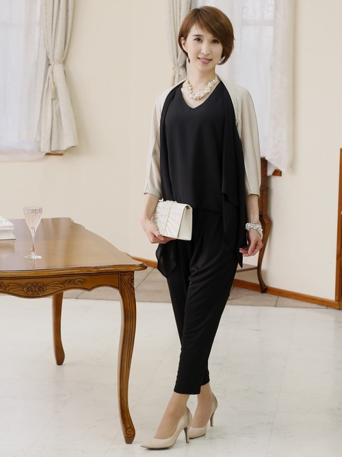 [PourVous] 【結婚式・デイリー】ドレープデザイン セットアップパンツドレス ポケット付パーティードレス