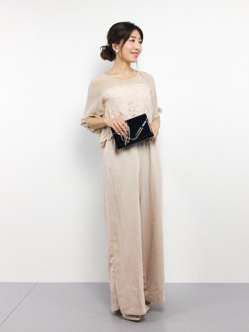 [GIRL] 【結婚式・お呼ばれ対応パンツドレス】シフォン切替えオールインワンワイドパンツドレス・パーティードレス