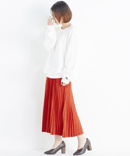 フェイクスエードのプリーツスカート