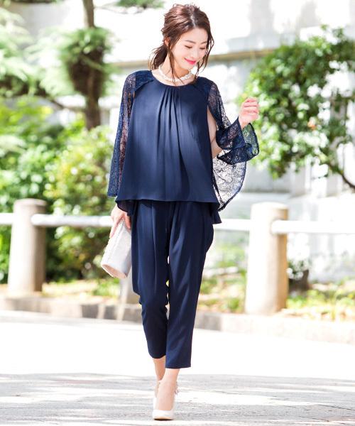 [Fashion Letter] 【結婚式・お呼ばれ対応】3WAYレーストップス パンツドレス