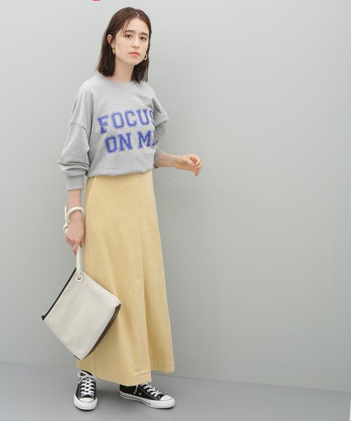 [ADAM ET ROPE'] コーデュロイロングスカート