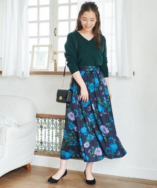 花柄ロングスカート3