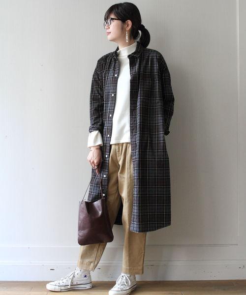 [STEPS] GYMPHLEX / ビエラ起毛チェックシャツワンピース