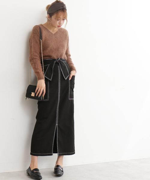 ステッチワークロングタイトスカート