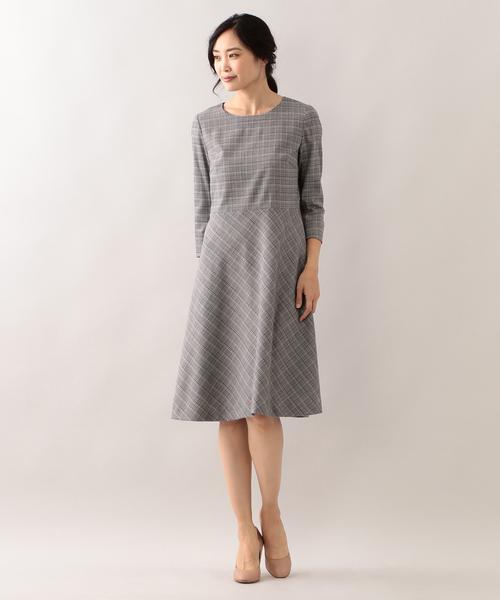 グレンチェックストレッチドレス