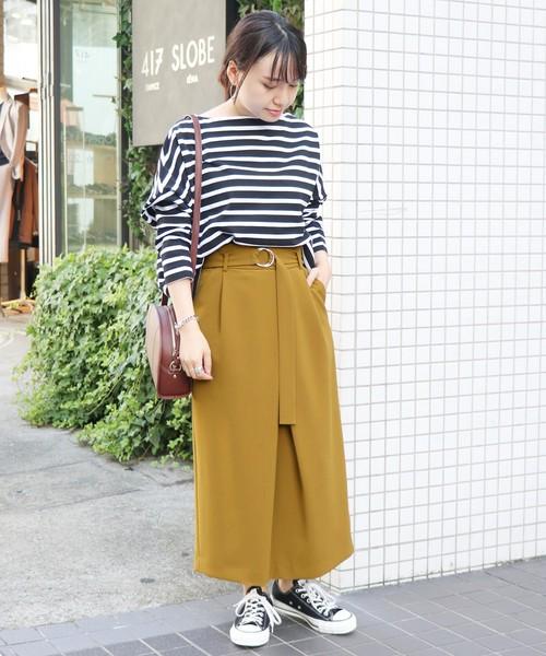 [IENA] ベルト付きアシメタックタイトスカート◆