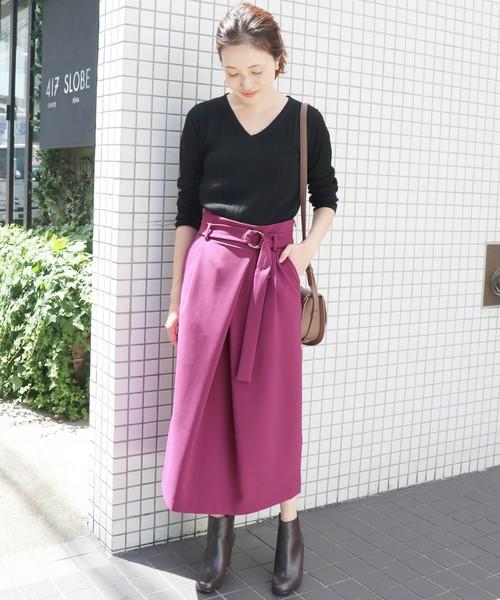 ベルト付きアシメタックタイトスカート