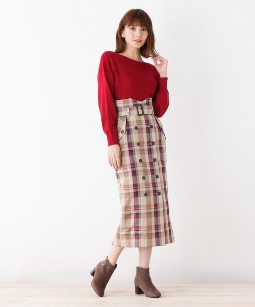 チェックトレンチタイトスカート
