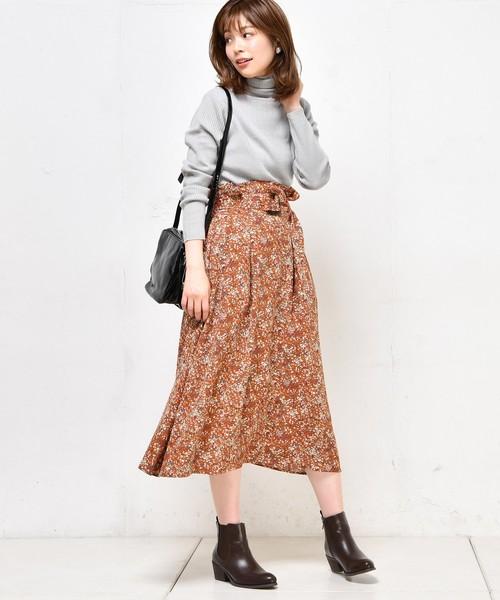 ハイウエストフレア花柄スカート2