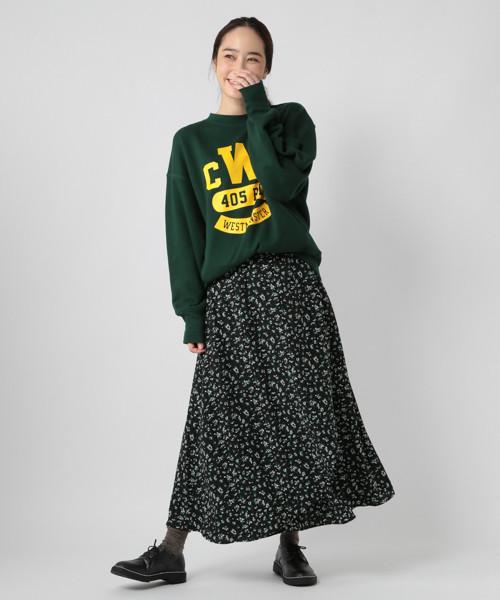 フラワープリントラップ風スカート