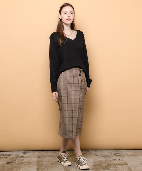 ラップチェックタイトスカート