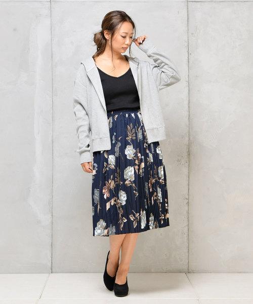 花柄ミディアムプリーツスカート4
