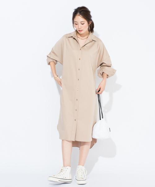 [Loungedress] サテンBIGシャツワンピース