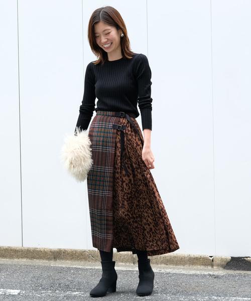 チェック柄×レオパード柄スカート