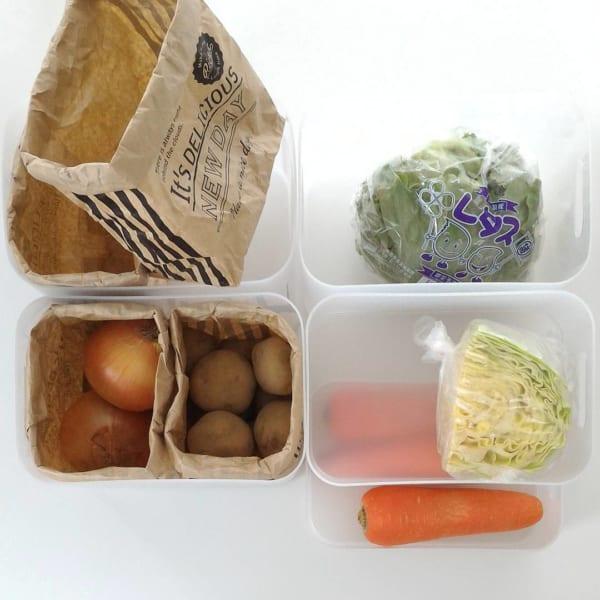 冷蔵庫の「冷凍庫・野菜室」の収納に使おう!3
