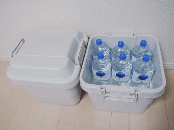 屋外でも使える、備えの保管ボックス。3