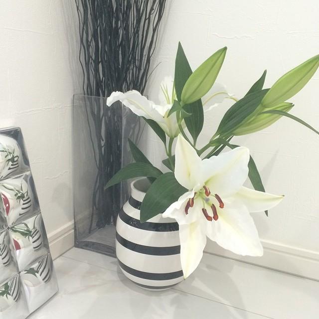 ボーダーの花瓶