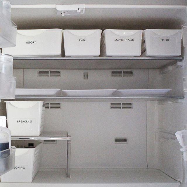 お揃いケースですっきり!見せられる冷蔵庫に
