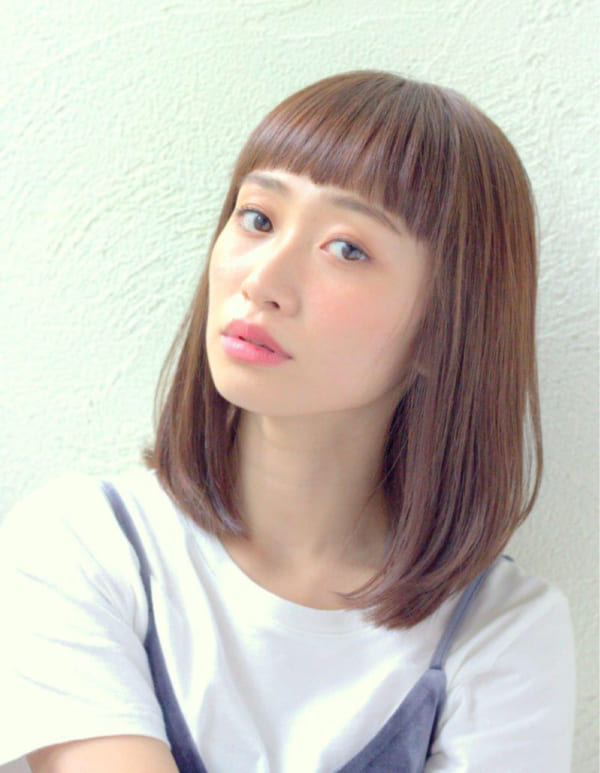 【ミディアム】前髪ぱっつん髪型集1