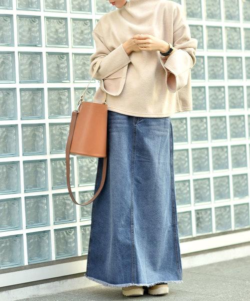 裾スリットウォッシュ加工デニムロングスカート
