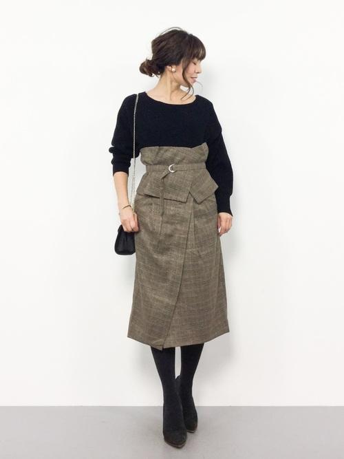 [mysty woman] グレンチェックコルセットベルト付き2WAYタイトスカート