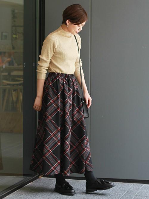 バイアスチェックロングスカート
