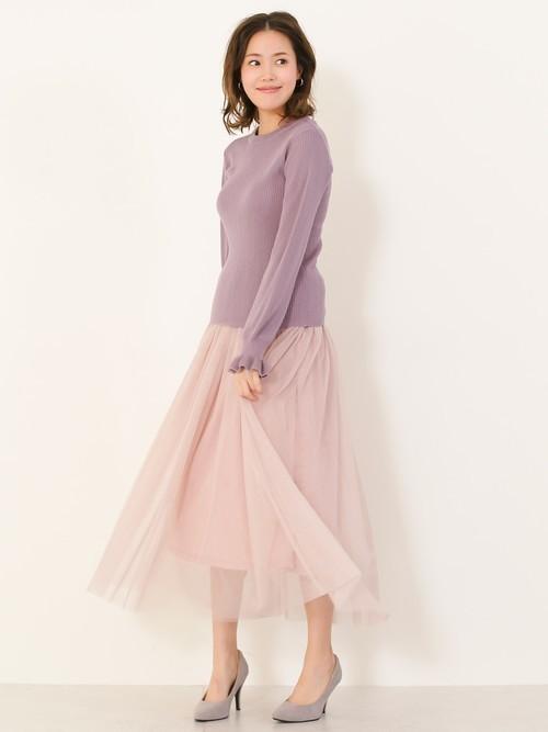 ピンクのロング・マキシ丈スカートを取り入れた大人コーデ5