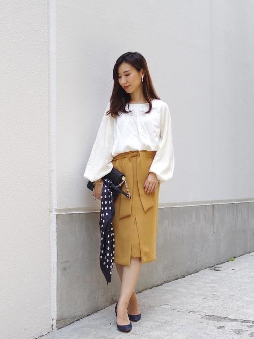 [NARACAMICIE] リボンロングタイトスカート