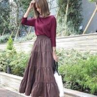 秋冬コーデに程よい重厚感を♪ティアードスカートで作る大人可愛いコーデ
