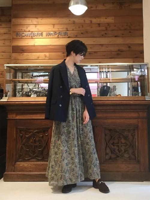 [NOMBRE IMPAIR] ボタニカルプリント マキシ丈ワンピース