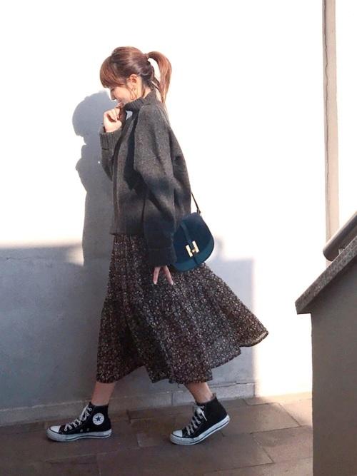 [haco!] <高橋愛さんコラボ>ラブ&ピースプロジェクト 花柄フリルネックマキシワンピース