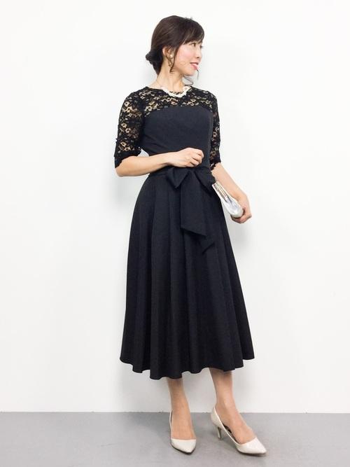 【WEB限定】レース×ライトグログラン6分袖ミモレワンピースドレス