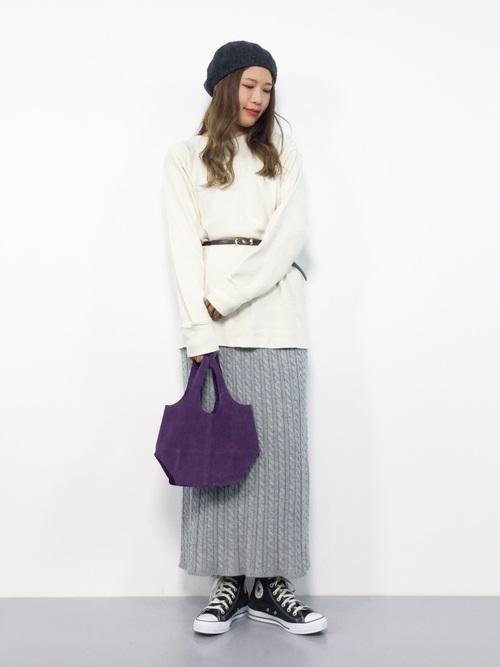 [rps] ケーブル編みロングニットスカート