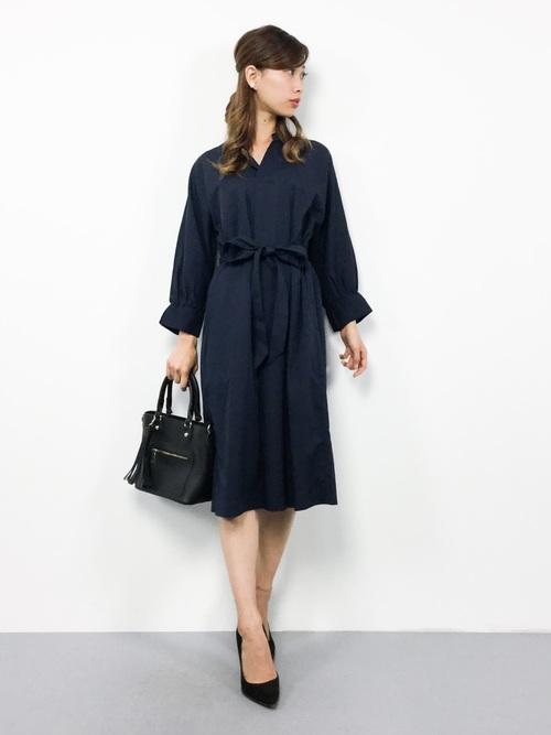 [ROPE' PICNIC] 【着丈が選べる】スタンド衿ドルマンワンピース